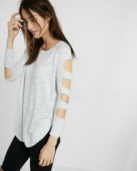 Express | Gray Cut-out Shoulder Tunic Sweater | Lyst