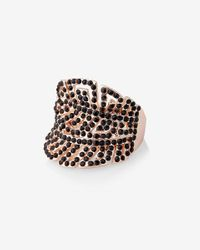 Express - Metallic Pave Double Leaf Ring - Lyst