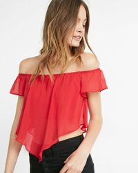 Express | Red Off The Shoulder Abbreviated Blouse | Lyst