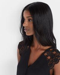Express   Black Crochet Sleeve Surplice Blouse   Lyst