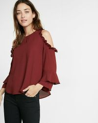 Express | Red Ruffle Cold Shoulder Blouse | Lyst