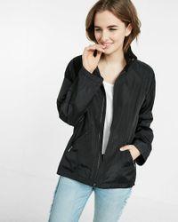 Express | Black Mock Neck Long Convertible Sleeve Raincoat | Lyst