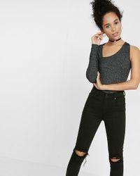 Express | Black One Eleven Asymmetrical One-shoulder Tee | Lyst
