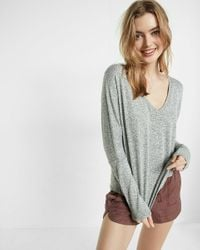 Express | Gray One Eleven Marled Knit V-neck Tee | Lyst