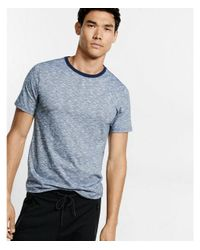 Express - Blue Space Dyed Slub Knit Flex Stretch Crew Neck Tee for Men - Lyst