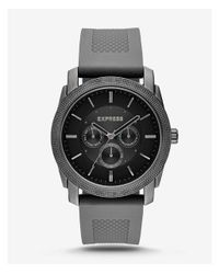 Express - Rivington Textured Silicone Multifunction Watch - Gray for Men - Lyst