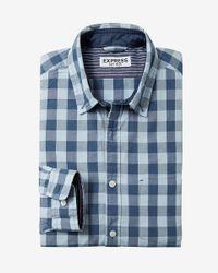 Express   Blue Soft Wash Small Buffalo Check Shirt for Men   Lyst