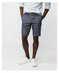 Express Blue Classic Fit 10 Inch Stretch Flat Front Shorts for men