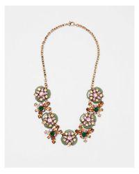 Express - Metallic Layered Mixed Stone Statement Necklace - Lyst