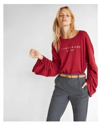 Express - Red Uched Sleeve Champagne Tee - Lyst
