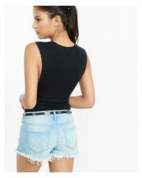 Express - Black One Eleven Sleeveless Bodysuit - Lyst