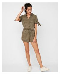 Express - Green Solid Tie Sleeve Utility Romper - Lyst