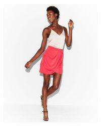 Express - Pink Satin Wrap Mini Skirt - Lyst