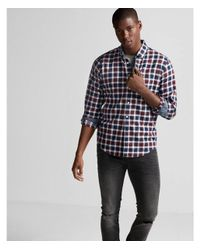 Express - Red Big & Tall Soft Wash Plaid Cotton Shirt for Men - Lyst