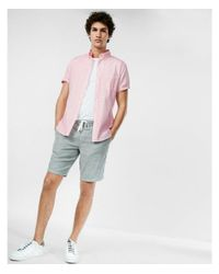 2de8f05b14073 Express Slim Garment Dyed Button-down Short Sleeve Shirt in Pink for ...