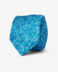 Express - Blue Floral Slim Silk Tie for Men - Lyst