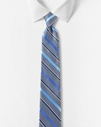 Express - Blue Diagonal Stripe Narrow Silk Tie for Men - Lyst