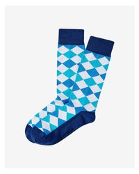Express - White Bright Multicolor Split Square Dress Socks for Men - Lyst