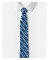 Express - Blue Tonal Stripe Narrow Silk Tie for Men - Lyst