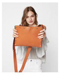 Express - Brown Studded Flat Cross Body Bag - Lyst