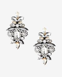 Express - Metallic Ornate Stone Earrings - Lyst