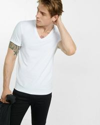 Express | White Flex Stretch Deep V-neck Tee for Men | Lyst
