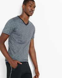 Express   Gray Space Dyed Slub Knit Flex Stretch V-neck Tee for Men   Lyst
