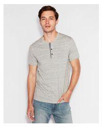 Express - Gray Wide Placket Short Sleeve Henley for Men - Lyst