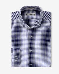 Express | Gray Fitted Small Check Dress Shirt for Men | Lyst