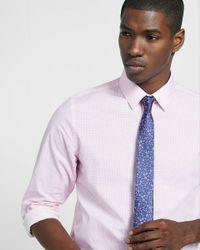 Express - Pink Modern Fit Micro Cube Print Dress Shirt for Men - Lyst
