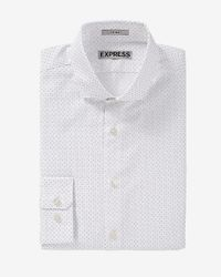 Express | Fitted Dot Print White Dress Shirt for Men | Lyst