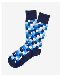 Express - Blue Check Print Dress Socks for Men - Lyst