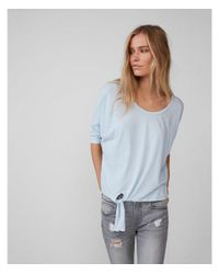 Express - Blue Rnout Tie Front Tee - Lyst