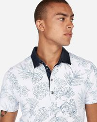 Express Big & Tall Floral Moisture-wicking Performance Stretch Polo White for men