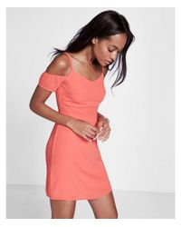 Express - Orange Cold Shoulder Fit And Flare Dress - Lyst