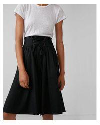 Express - Black High Waisted Cotton Corset Midi Skirt - Lyst