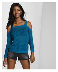 Express - Blue Open Stitch Cold Shoulder Pullover Sweater - Lyst