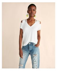 Express | White Slash Neck Deep V Cold Shoulder Tee | Lyst