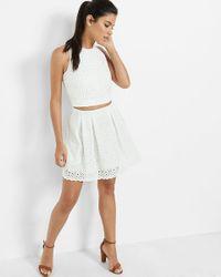 Express - White Ivory Floral Eyelet Full Mini Skirt - Lyst