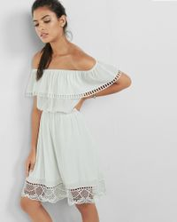 Express - White Off The Shoulder Ladder And Lace Trim Dress - Lyst