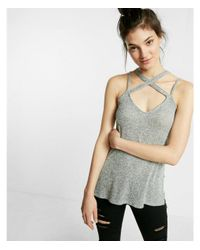 Express - Gray Marled Crisscross Trapeze Cami - Lyst