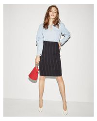 Express - Blue High Waisted Pinstripe Pencil Skirt - Lyst