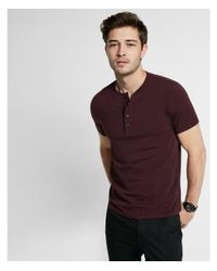 Express - Red Piped Flex Stretch Signature Henley for Men - Lyst