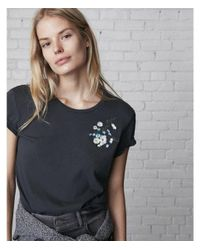 Express - Blue Wild Flowers Embroidery Tee - Lyst