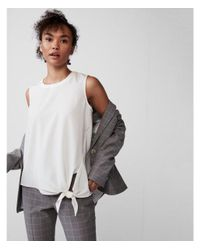 Express - White Knot Hem Shell Top - Lyst