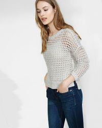 Express - Multicolor Marl Open Knit Hi-lo Sweater - Lyst