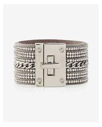 Express - Metallic Rhinestone Chain Turnlock Cuff Bracelet - Lyst