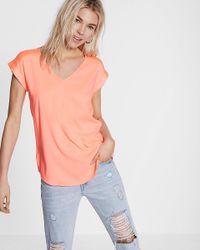 Express | Orange Silky V-neck Rolled Sleeve Blouse | Lyst