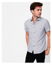 Express - Gray Soft Wash Double Weave Short Sleeve Cotton Shirt for Men - Lyst