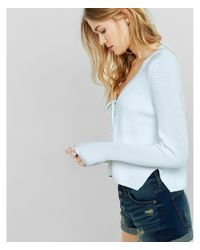 Express - Blue Lace Up Pullover Sweater - Lyst